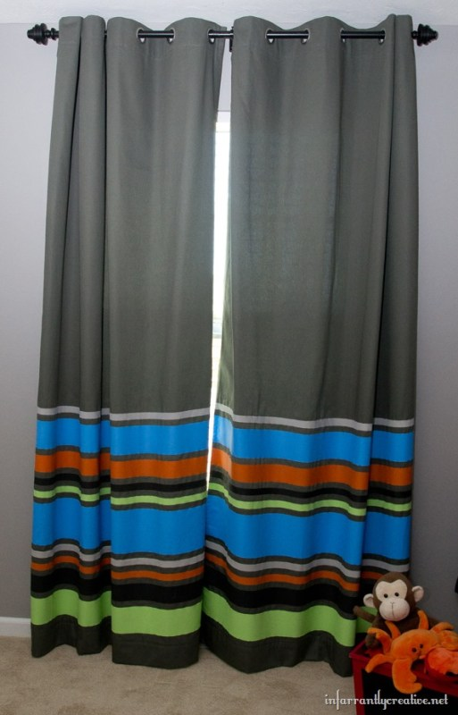 Infarrantly Creative - diy colorful striped painted curtains - via Remodelaholic