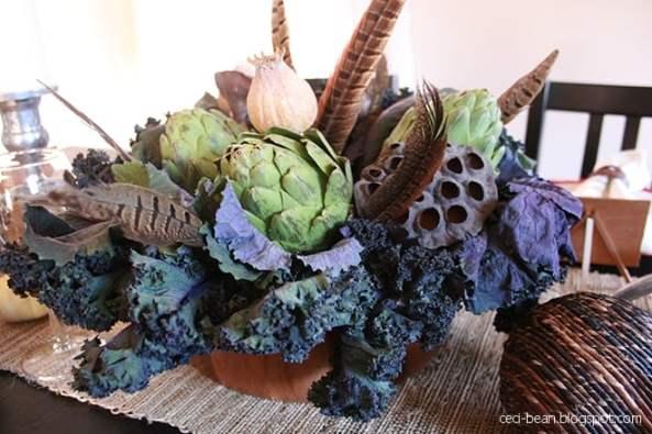 Kale and artichoke centerpiece
