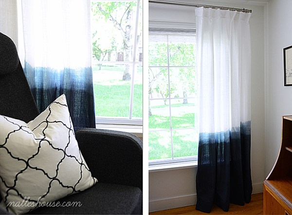 Nalle's House on 4men1lady - dip dyed ombre curtains - via Remodelaholic