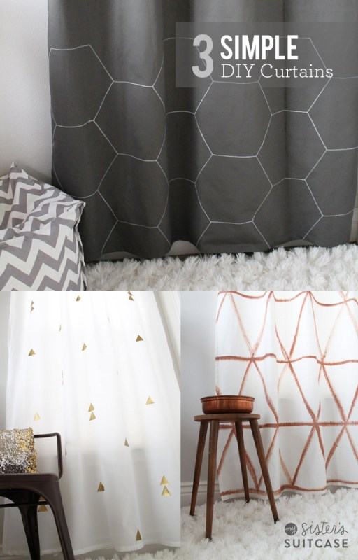 Sisters Suitcase - simple geometric diy painted curtains - via Remodelaholic