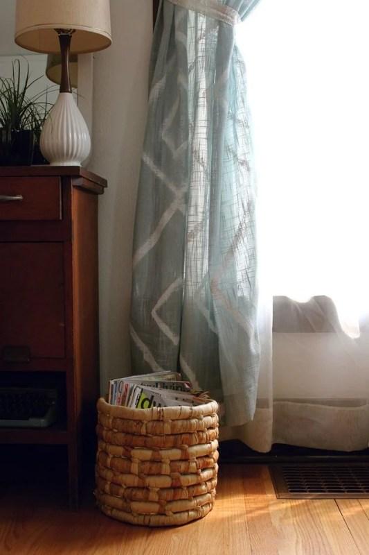 Smile and Wave - geometric diamond painted curtains - via Remodelaholic