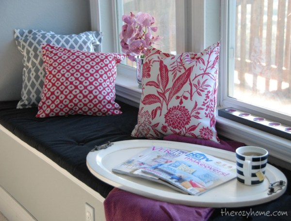 The Rozy Home - built-in window seat update via @Remodelaholic
