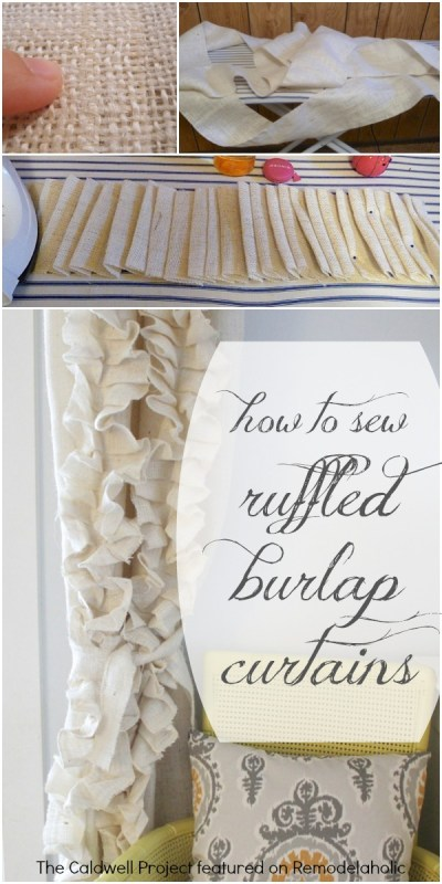 Tutorial: Ruffled Burlap Curtains   The Caldwell Project on Remodelaholic.com #AllThingsWindows #texture #budget