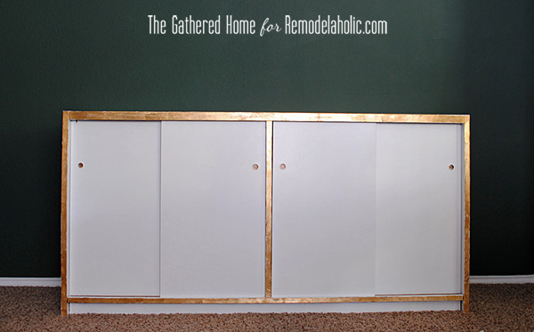 DIY Marbled Credenza Makeover by The Gathered Home for Remodelaholic.com