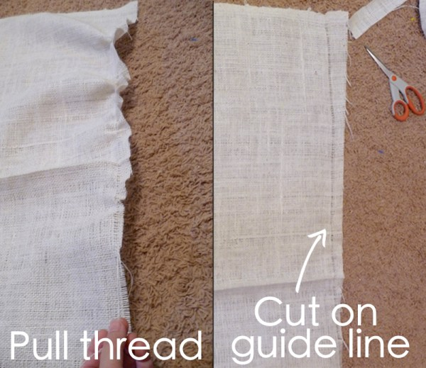 how to cut burlap straight, The Caldwell Project on Remodelaholic