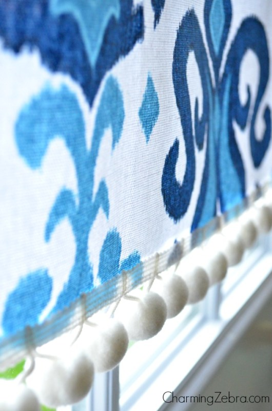 magnetic window blind on door with pom pom trim, Charming Zebra on Remodelaholic