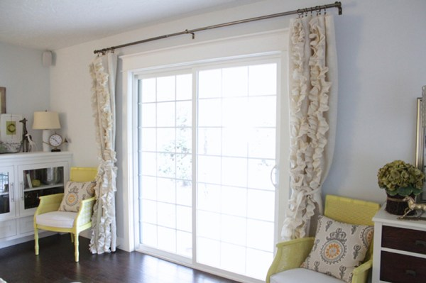 ruffled burlap curtains on a french door, The Caldwell Project on Remodelaholic