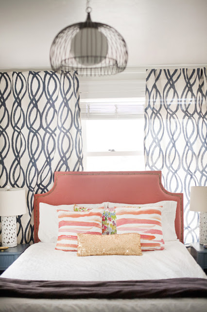via Cup Half Full - inspiration hand painted organic curves curtains - via Remodelaholic