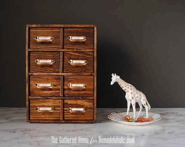 DIY Miniature Card Catalog Storage Box | The Gathered Home for Remodelaholic.com #cardcatalog #tutorial #vintage