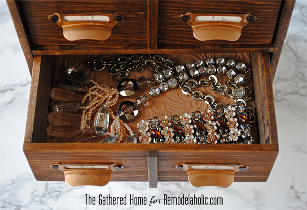 DIY Miniature Card Catalog Storage Box   The Gathered Home for Remodelaholic.com #cardcatalog #tutorial #vintage