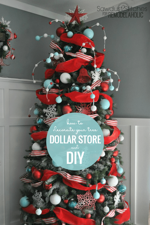 DIY Christmas Ornaments And Upcycled Dollar Store Ornaments For A Custom Christmas Tree, Sawdust 2 Stitches Featured On Remodelaholic