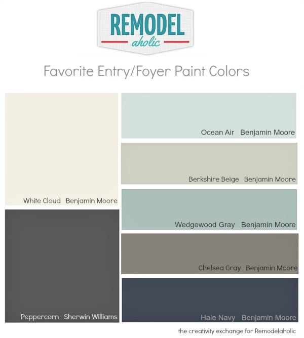 Favorite entry way and foyer paint colors @Remodelaholic #paintpalette #color #paint