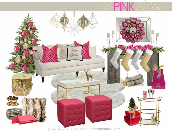 Hot Pink Holiday from Just The Bees Knees on remodelaholic.com #Christmas #decorating