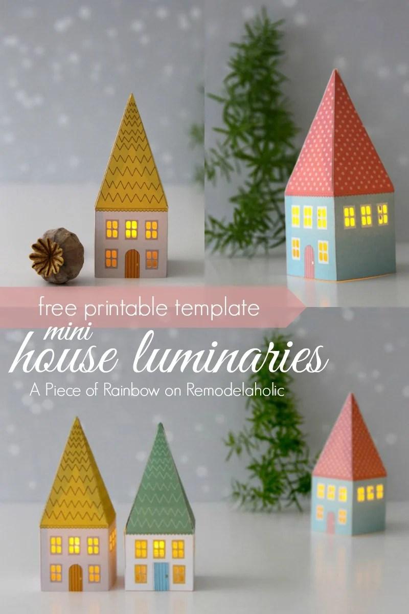 photo relating to Printable Christmas Village Template called Remodelaholic Printable Mini Room Luminaries