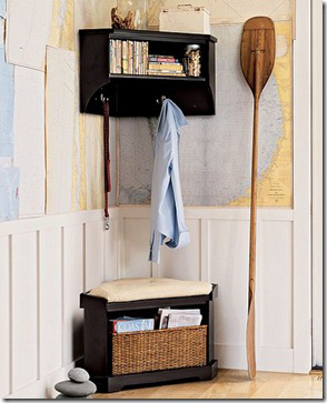 Mudroom corner bench and corner shelf