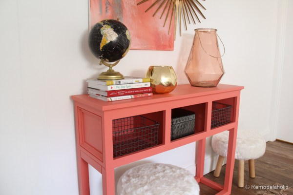 Sherwin-Williams Coral Reef Painted Console Table @Remodelaholic-022