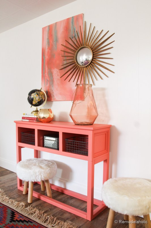 Sherwin-Williams Coral Reef Painted Console Table @Remodelaholic-034