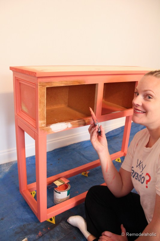 Sherwin-Williams Coral Reef Painted Console Table @Remodelaholic-2775