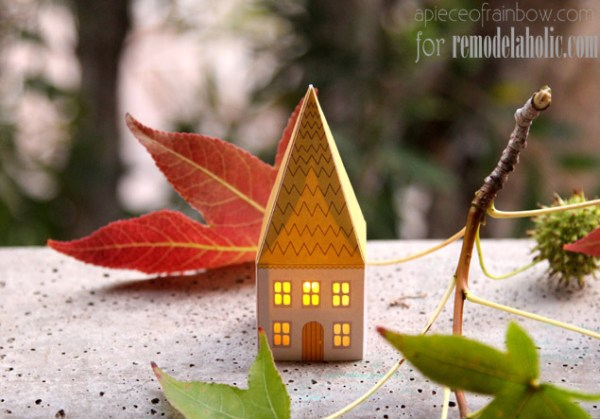 Printable Mini House Luminaries | A Piece of Rainbow for @Remodelaholic