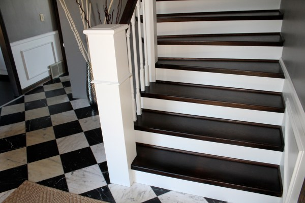 carpet to paint and wood staircase and handrail remodel - Construction2Style via @Remodelaholic