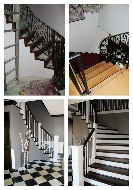 carpeted staircase remodel before and after - Construction2Style via @Remodelaholic