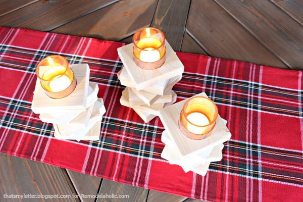 copper & wood candle holders 1