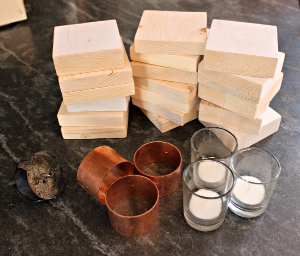 copper & wood candle holders supplies
