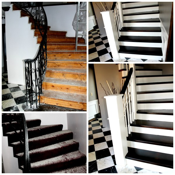 curved staircase remodel before and after - Construction2Style via @Remodelaholic