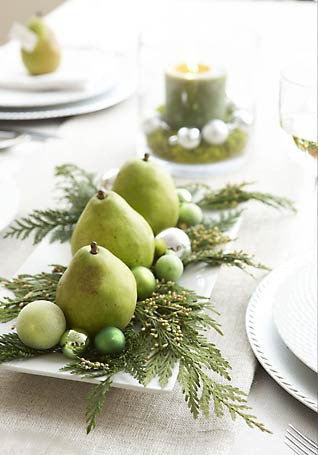 holiday decor food pear centerpiece
