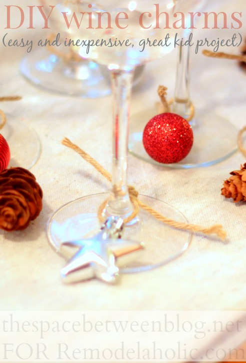Super easy DIY wine charms | The Space Between for @Remodelaholic #holiday #Christmas
