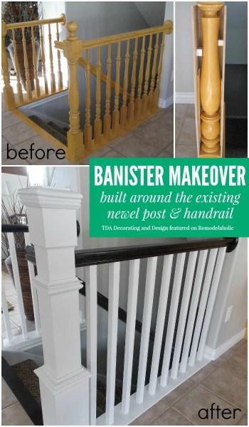 Banister Makeover - TDA Decorating and Design featured on @Remodelaholic
