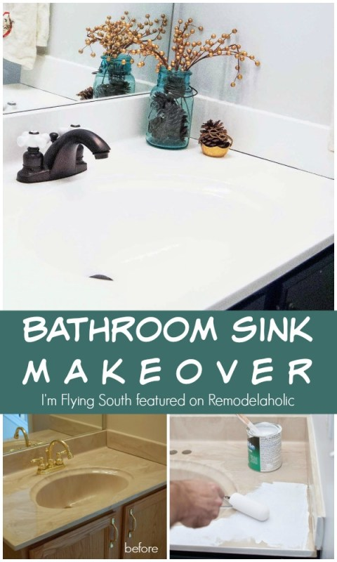 Painted Bathroom Sink Makeover - I'm Flying South featured on @Remodelaholic #diy #beforeandafter