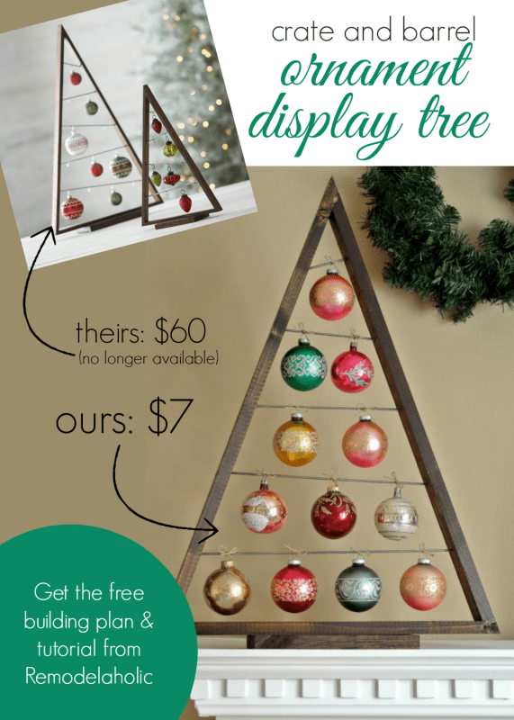 DIY Crate and Barrel Ornament Display Tree @Remodelaholic #knockoff #Christmas