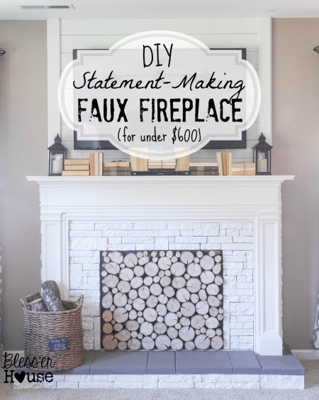 DIY Faux Fireplace and Mantel Tutorial - Blesser House featured on @Remodelaholic