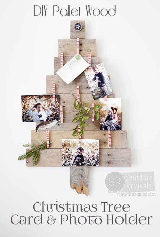 DIY Pallet Wood Christmas Tree Photo Amp Card Holder