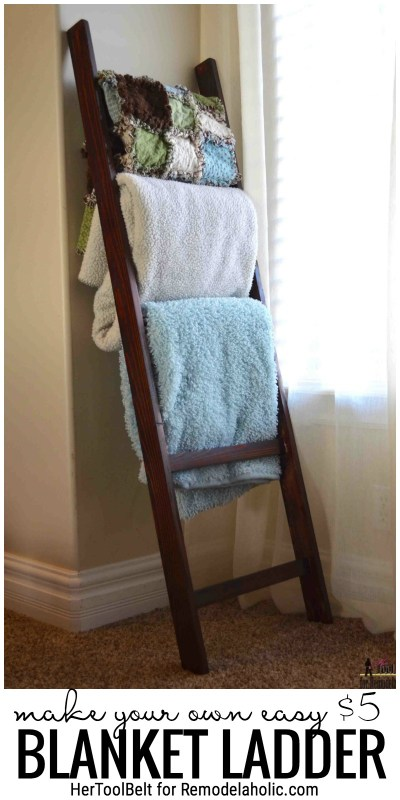 Quick And Easy DIY Project, Perfect For Gifts. Make Your Own Easy $5 Blanket Ladder With Plans By HerToolBelt For Remodelaholic.com