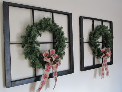 add a wreath to an old window or existing photo frame - Sew Many Ways via @Remodelaholic