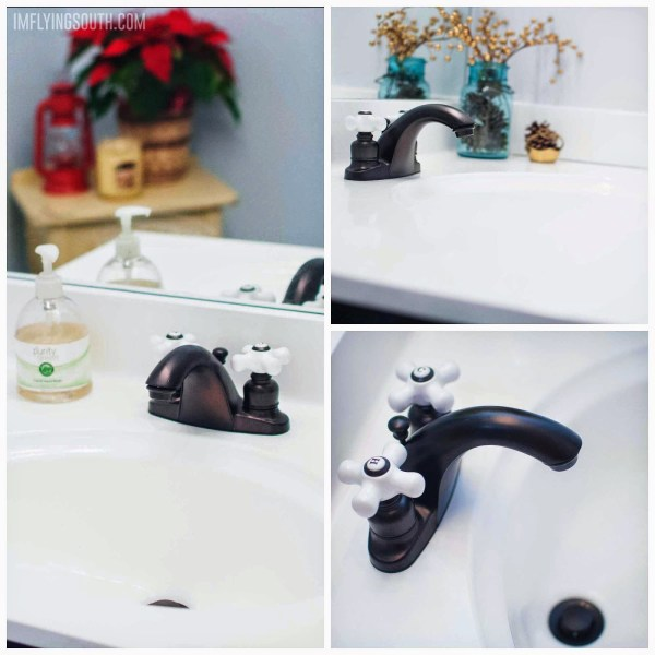 budget-friendly integral sink and countertop - painted makeover - I'm Flying South featured on @Remodelaholic
