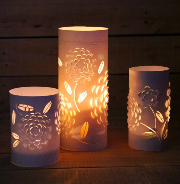 easy papercut floral luminaries - A Piece of Rainbow via @Remodelaholic