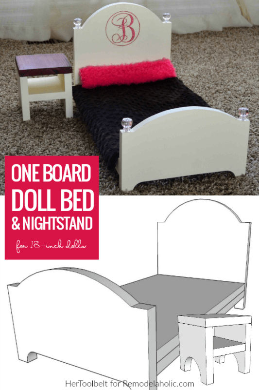 How To Make A Doll Bed For 18 Inch Dolls Easy Beginner One Board Woodworking Plan Hertoolbelt For #Remodelaholic