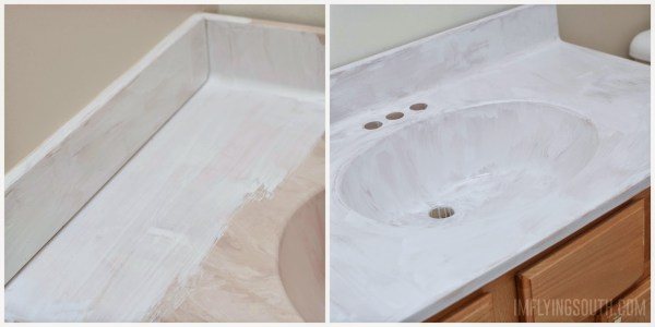 how to paint a bathroom sink - I'm Flying South featured on @Remodelaholic