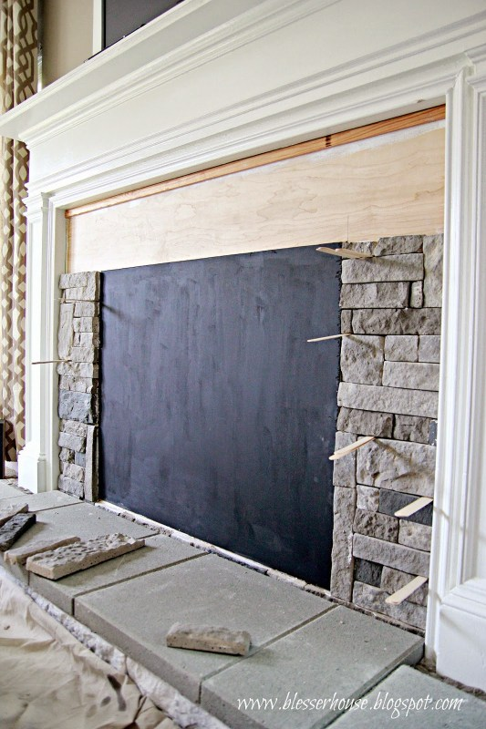 install airstone on a faux fireplace - Blesser House featured on @Remodelaholic