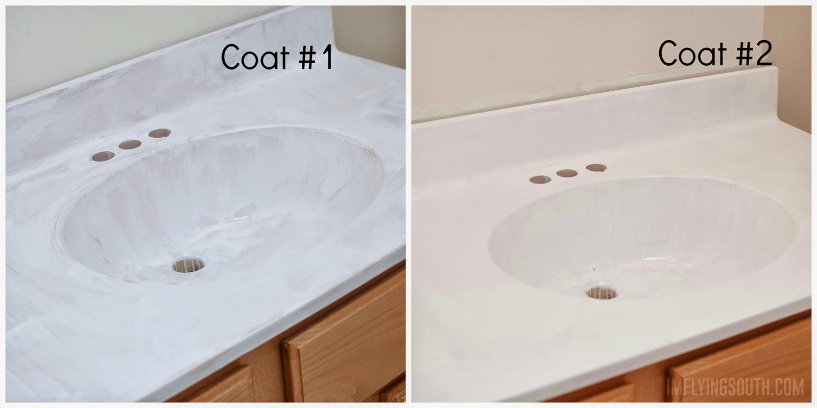 Great Painted Bathroom Sink And Countertop Process   Iu0027m Flying South Featured On  @Remodelaholic