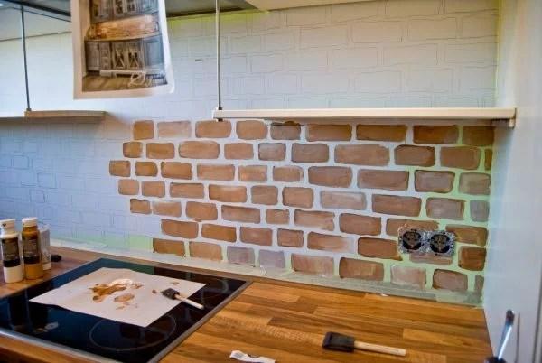 diy whitewashed faux brick backsplash
