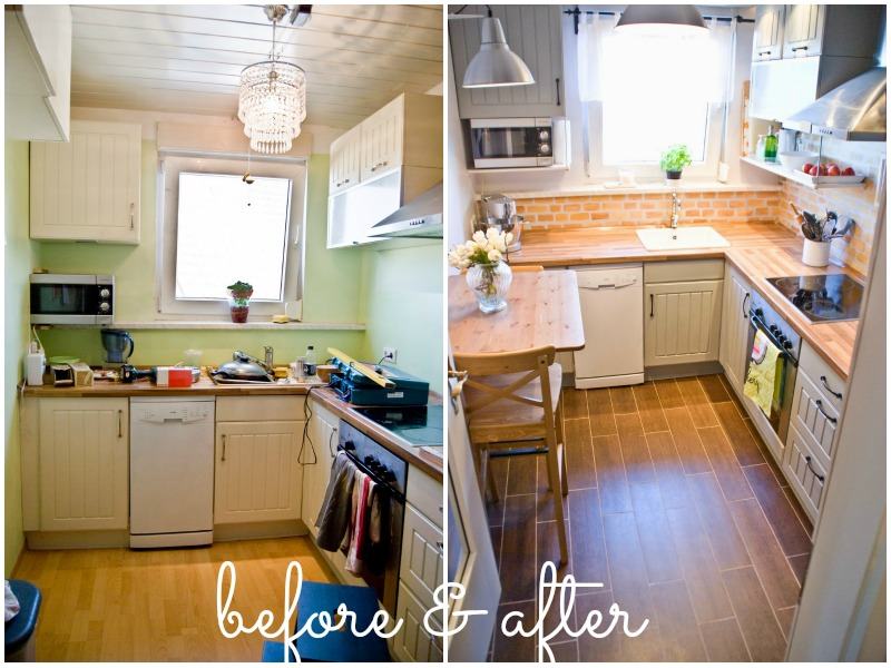 Remodelaholic   Tiny Kitchen Renovation with Faux Painted ...