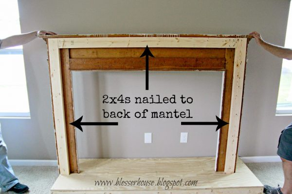 use 2x4s to anchor mantel to diy faux fireplace - Blesser House featured on @Remodelaholic