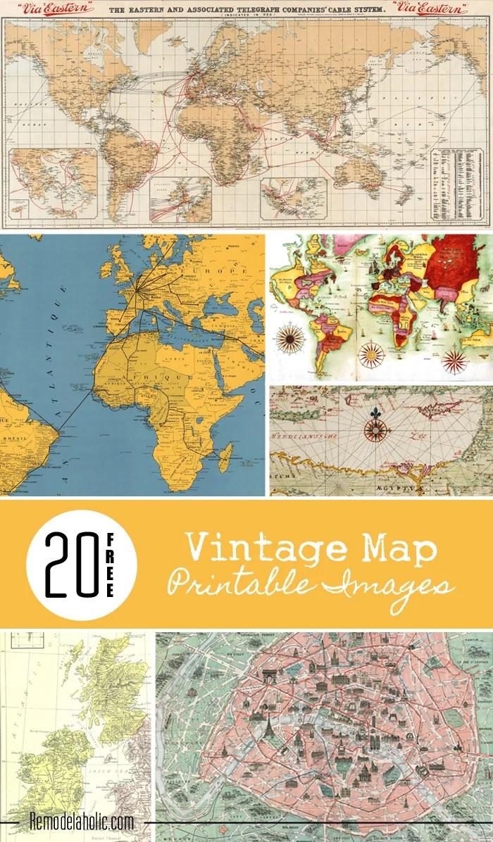 Remodelaholic | 20 Free Vintage Map Printable Images on