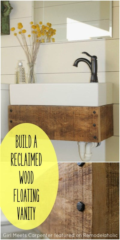 Build a Reclaimed Wood Floating Vanity - Girl Meets Carpenter featured on @Remodelaholic