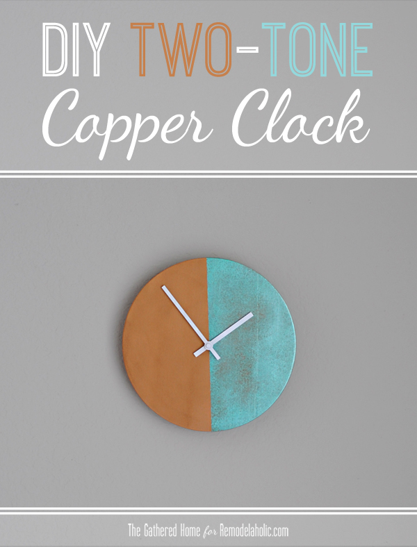 DIY Two-Tone Copper Clock | Remodelaholic.com #anthropologie #knockoff #clock