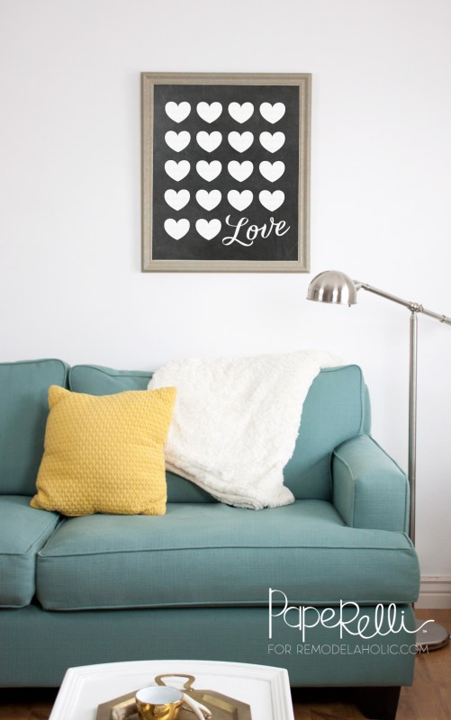 Printable Chalkboard Love Poster for Valentine's Day Gallery Wall Decor